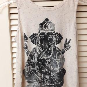 Ganesha Boho Tribal beige Burnout Tank XS